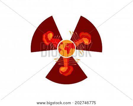 Nuclear explosion. Atomic bomb. Symbol of radiation hazard. Vector illustration