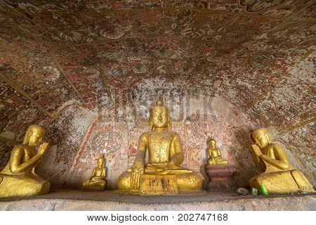 Buddha statues in Pho Win Taung Caves in Monywa, Mandalay
