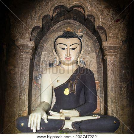 Buddha statue of Burmese style in Bagan, Myanmar.