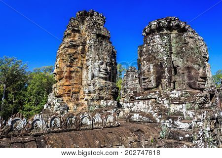 Ancient Bayon Temple In Angkor Thom, Siem Reap, Cambodia