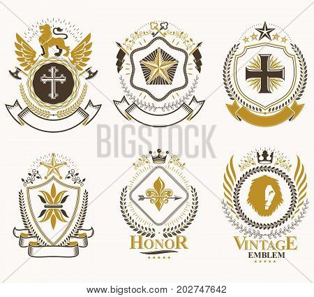 Heraldic Coat of Arms created with vintage vector elements animals towers crowns and stars. Classy symbolic emblems collection vector set.
