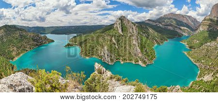Panorama of Canelles reservoir in La Noguera Lleida province Catalonia Spain