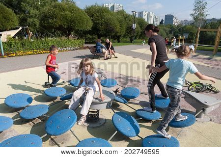 MOSCOW RUSSIA - SEPTEMBER 1 2017: Children play in playground in