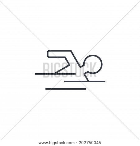 swimming pool, swimmer, sport thin line icon. Linear vector illustration. Pictogram isolated on white background
