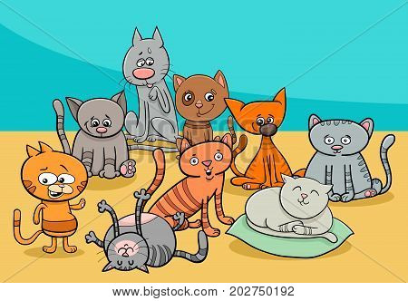 Funny Cats Group Cartoon Illustration