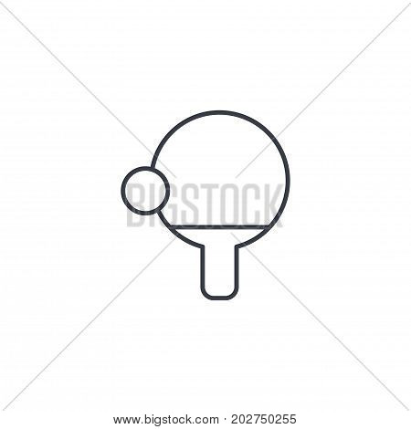 ping pong, racket and ball thin line icon. Linear vector illustration. Pictogram isolated on white background