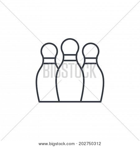 Bowling Skittles thin line icon. Linear vector illustration. Pictogram isolated on white background