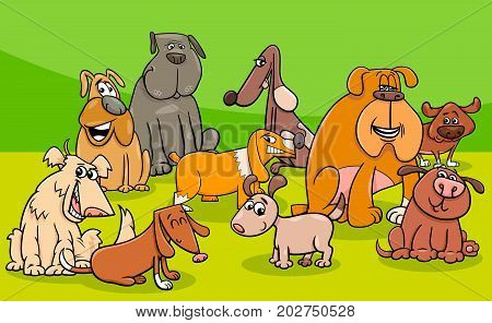 Funny Dogs Group Cartoon Illustration
