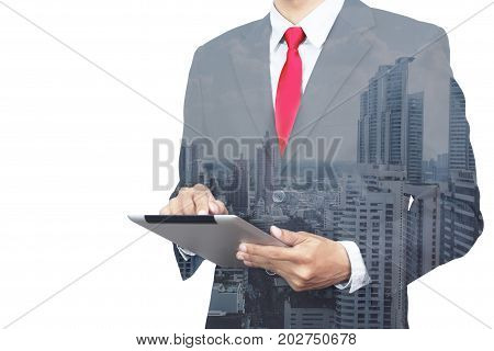 Double exposure photo. Business Man touching modern tablet. Investment trader manager working banking project anonymous face