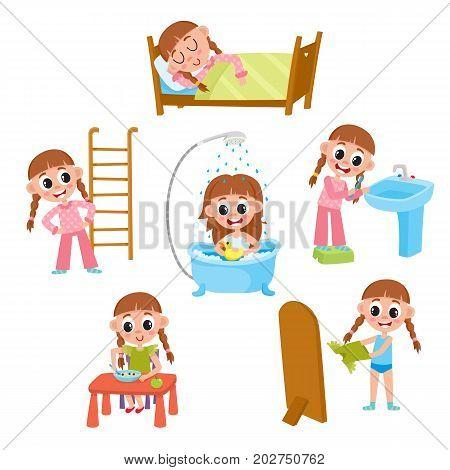 Daily morning routine, little girl sleeping, washing, eating, dressing, doing exercises, brushing teeth, cartoon vector illustration isolated on white background. Daily morning routines of little girl poster