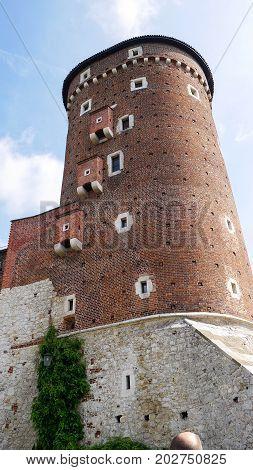 Sandomierz Tower, Wawel Castle, Poland May 31 2017 Close-up