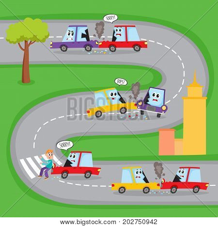 Various types of road accidents with funny car characters on city street, cartoon vector illustration. Collision, pedestrian knockdown, road accident with funny car characters shown on the same road