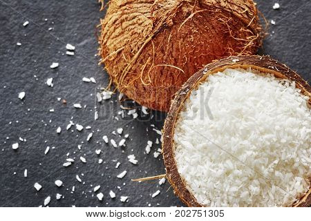 Coconut Shreds On A Dark Slate Background