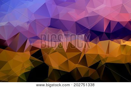 Light Orange Vector Polygonal Illustration, Which Consist Of Triangles. Triangular Design For Your B