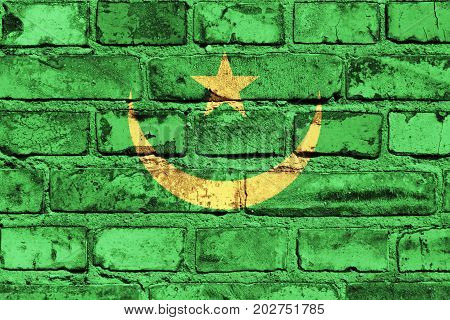 Mauritania flag painted on the brick wall