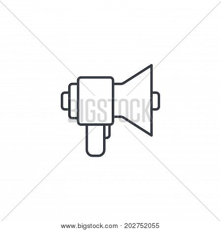 megaphone, speaker, broadcast, share thin line icon. Linear vector illustration. Pictogram isolated on white background
