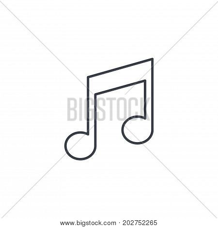 music note symbol thin line icon. Linear vector illustration. Pictogram isolated on white background