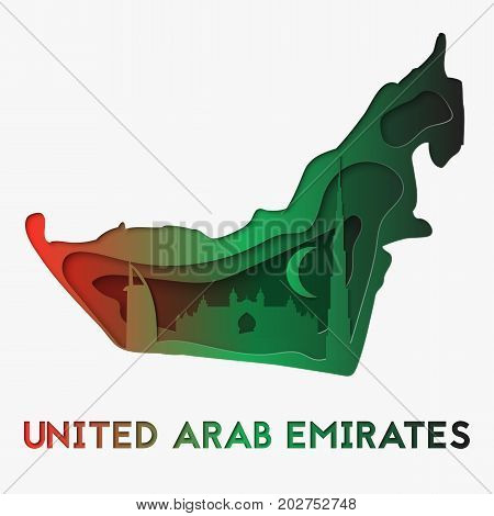 3d abstract paper cut illlustration of United Arab Emirates map and famous buildings. Vector travel template in carving art style. Eps10.