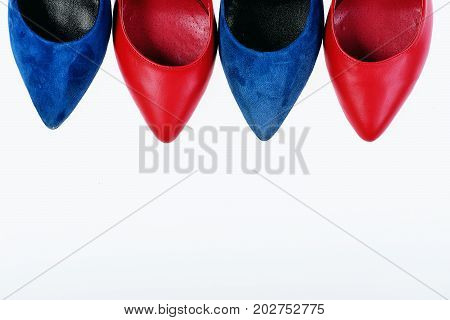 Accessories For Women: Shoe Toes Isolated On White Background