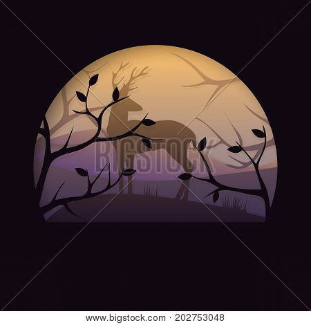 3d abstract paper cut illlustration of deer in the dark autumn forest. Vector colorful postcard template in carving art style. Eps10.