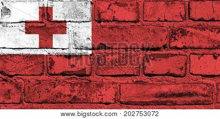 Tonga  flag painted on the brick wall