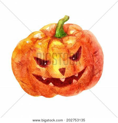Cute watercolor evil pumpkin illustration isolated on white background. Sweet watercolor pumpkin Perfect for Happy Halloween holiday