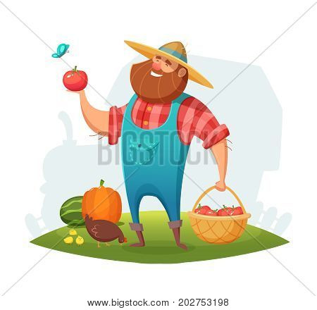 Cartoon farmer character design. rancher holding a basket of vegetables in his hand. Vector illustration