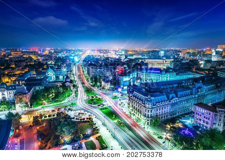 the skyline of the bucharest city center at night