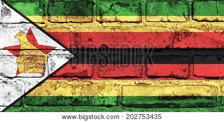 Zimbabwe flag painted on the brick wall