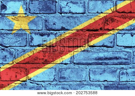 The Democratic Republic of the Congo flag painted on the brick wall