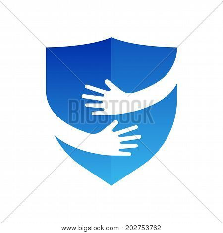 Hands and shield logo. Protection vector logo template. Abstract symbol with hands in negative space. Security sign