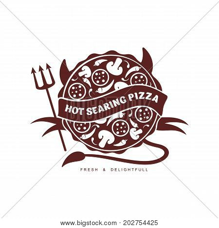 vector flat hot searing pizza devil with horns, tail and trident icon pictogram. Isolated illustration on a white background. Pizzaria , delivery company brand , logo ready to use design.