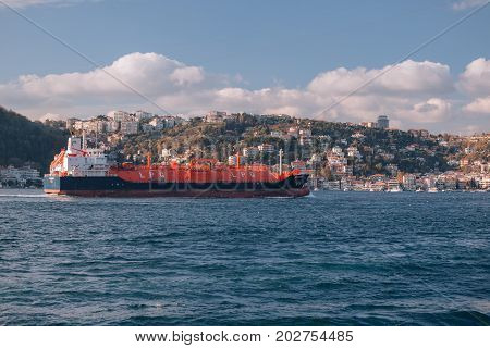 ISTANBUL TURKEY - NOVEMBER 17 2013: LPG tanker ship sailing in front of Istanbul Commercial Harbour. Some 50000 ships pass through the Turkish Straits every year. LPG ship designed for liquefied petroleum gas transportation