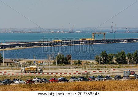 The Kerch Strait Bridge Construction. Russia