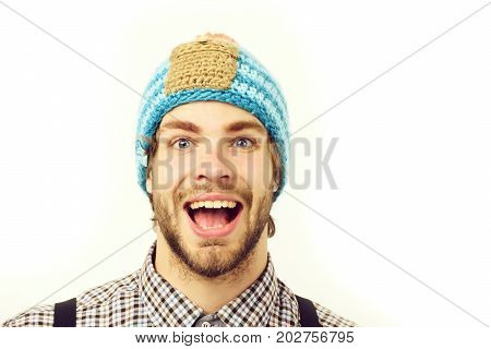 Man In Winter Hat And Plaid Shirt Isolated On White