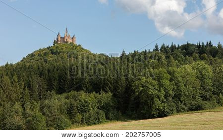 Aerial View Of Famous Hohenzollern Castle, Ancestral Seat Of The Imperial House Of Hohenzollern And