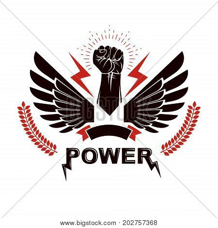 Raised strong clenched fist composed with lightning winged logo. Boxing club abstract emblem can be used as tattoo.