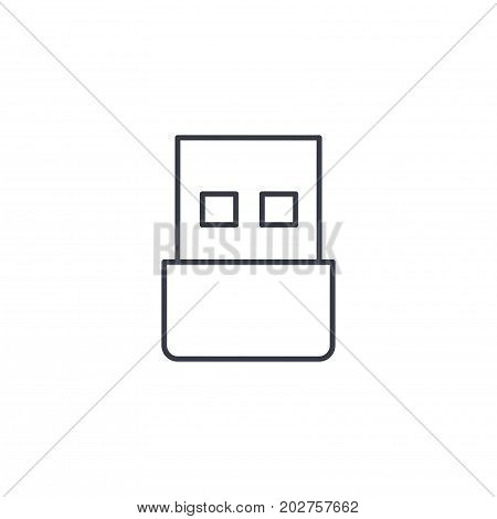 USB flash drive thin line icon. Linear vector illustration. Pictogram isolated on white background
