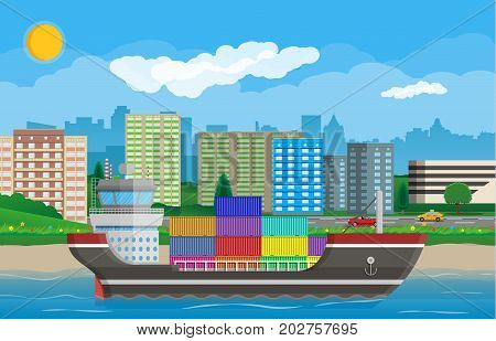 River ocean and sea freight shipping by water. Cityscape with road, car, buildings. Background with blue sky and clouds. Sea port logistics and delivery. Vector illustration in flat style