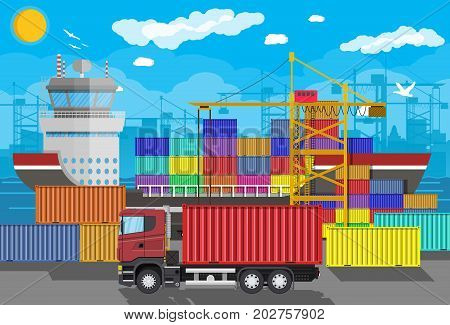 River ocean and sea freight shipping by water. Port crane unloads cargo ship. Containet truck. Background with blue sky and clouds. Sea port logistics and delivery. Vector illustration in flat style
