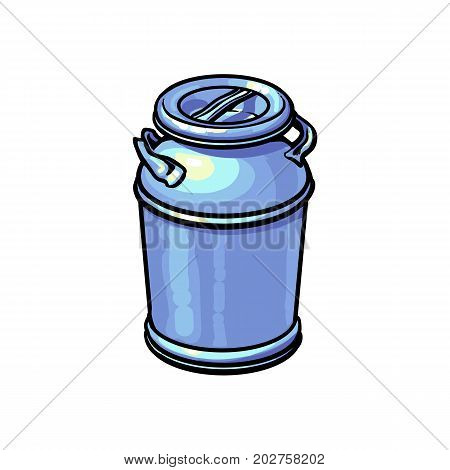 Big closed industrial aluminum milk can, sketch style vector illustration on white background. Realistic hand drawing of big milk can, closed, blank and shiny
