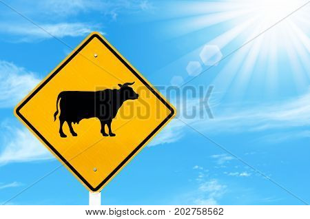 Animal Or Cow Warning Sign On Blue Sky And Sun Light White Clouds Background.