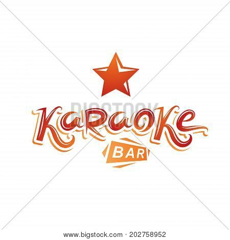 Karaoke bar calligraphy lettering can be used as design element for musical karaoke performance flyer template