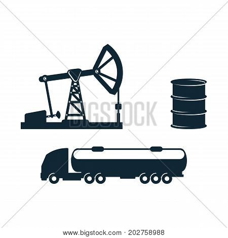vector gasoline tanker truck vehicle and oil barrel and oil pump, derrick set simple flat icon pictogram isolated on a white background. Gas oil fuel, energy power industry symbol, sign