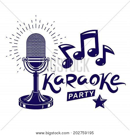 Karaoke party invitation poster live music vector concert advertising leaflet composed using stage or recorder microphone and musical notes.