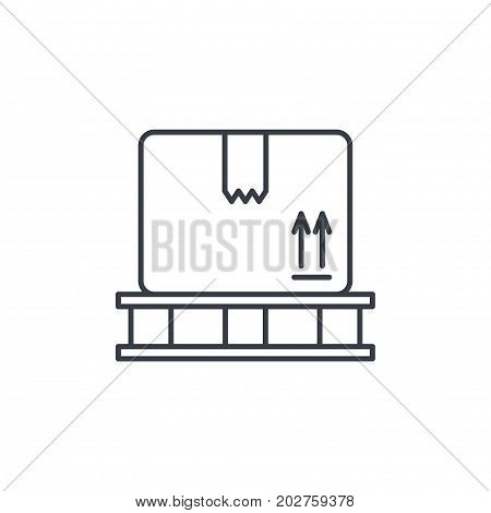 carton box whith packaging tape thin line icon. Linear vector illustration. Pictogram isolated on white background