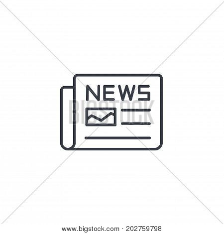 Newspaper, daily press, news content, article thin line icon. Linear vector illustration. Pictogram isolated on white background