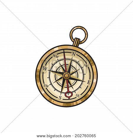 Vintage old hand drawn compass, sketch style cartoon vector illustration isolated on white background. Hand drawn cartoon vector illustration of old golden compass
