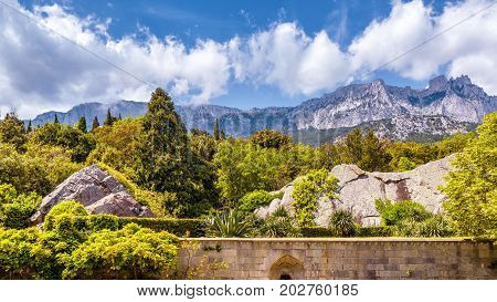 The Mount Ai-Petri in Crimea, Russia. Ai-Petri is one of the highest mountains in Crimea and tourist attraction. 16:9 widescreen.