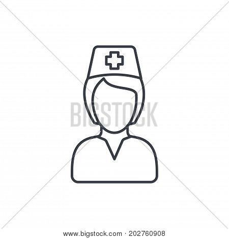 nurse avatar, doctor thin line icon. Linear vector illustration. Pictogram isolated on white background